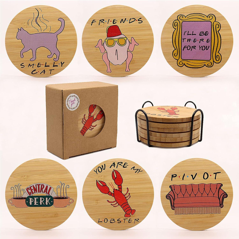 Friends TV Show Gifts Coasters for 6 Wooden R Pcs Drinks Superlatite Superlatite Natural