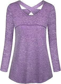 Cucuchy Womens Yoga Tops Casual Flowy Long Sleeve Criss Cross Back Workout Shirts