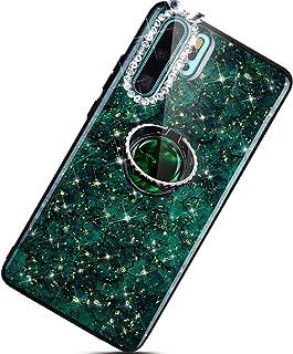 Urhause Kompatibel med Huawei P30 Pro telefonfodral, diamantglitter skyddsfodral, guldfolie PC bakskydd + TPU stötfångare ...