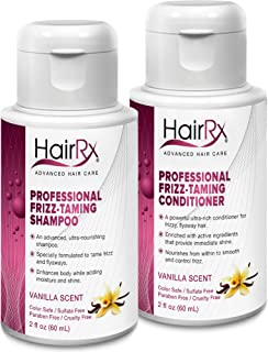 HairRx Professional Frizz-Taming Shampoo & Conditioner Travel Set, Luxurious Lather, Vanilla Scent, 2 Ounce Bottles