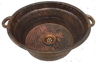 Flame Heated Vintage Patina Rustic Vessel Copper Bath Kitchen Handles Sink