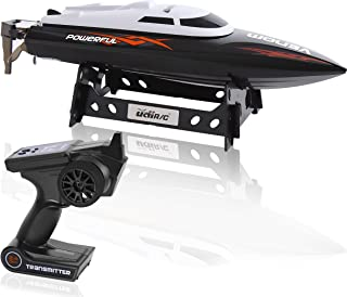 Wireless Remote Control Speed Boat - 2.4GHz RC Toy w/ Throttle Controlled Speed, Stabilizer, Rechargeable Battery, Cooling System, USB Charger, Display Stand, For Outdoor Pool - SereneLife