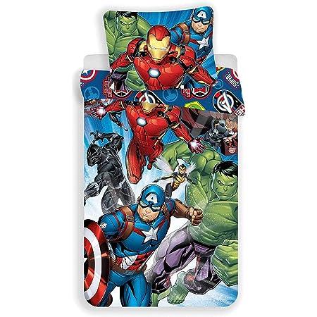 Taie doreiller 70x90 cm Housse de Couette 140x200cm JFabrics Parure de lit Avengers 100/% Coton