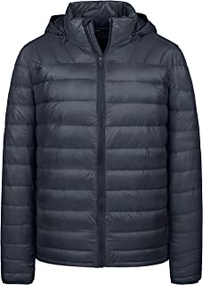Wantdo Men's Packable Down Jacket Insulated Warm Winter Coat Hooded Puffer Jacket