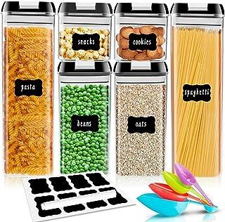 Cozywind Lot de 6 bocaux de rangement de cuisine avec tasses à mesurer pour céréales, farine, sucre