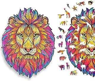 Puzzle en Bois 140 Pièces, Puzzles d'animaux Colorés de Forme Unique (Lion MystéRieux), Idéal pour la Collection de Jeu de...