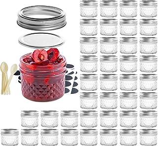 SXUDA Mason Jar BPA-Free 4oz Mini Canning Jars with Regular Lids and Bands Jelly Jars for Jam, Honey, Wedding Favors, Show...
