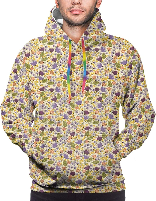 Men's Hoodies Sweatshirts,Romantic Arrangement with Different Flowers in Retro Doodle Style Soulful Nature