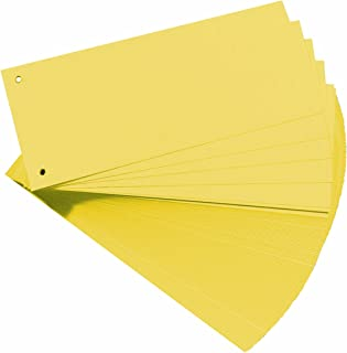 HERLITZ - intercalaires, pour format A4, carton dur RC, jaune perforée, 105 x 240 mm, 190 g/m2 conte