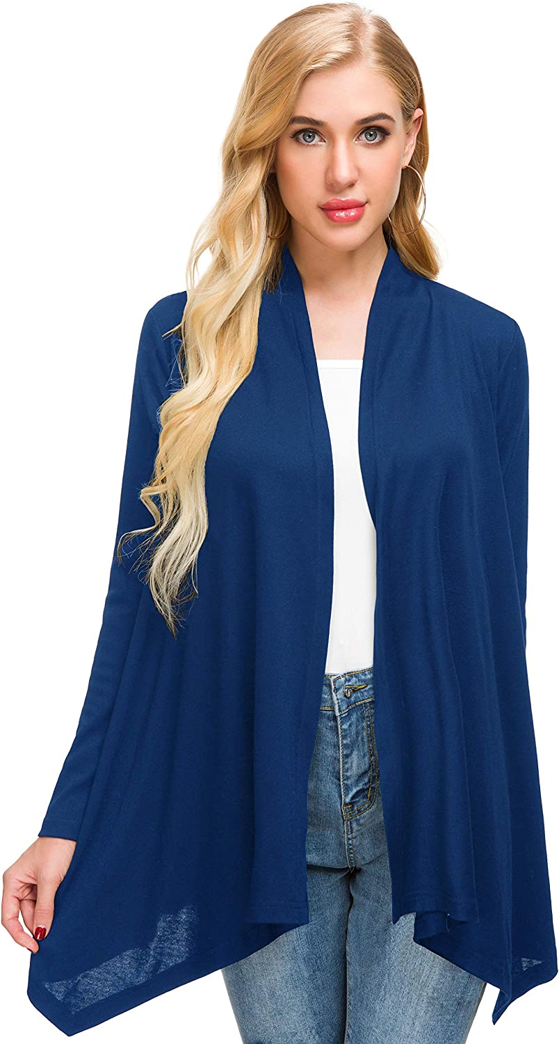Afibi Women Open Front Lightweight Long Sleeve Soft Drape Cardigan