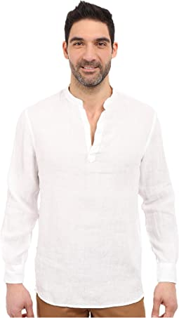 Perry Ellis - Long Sleeve Solid Linen Popover Shirt