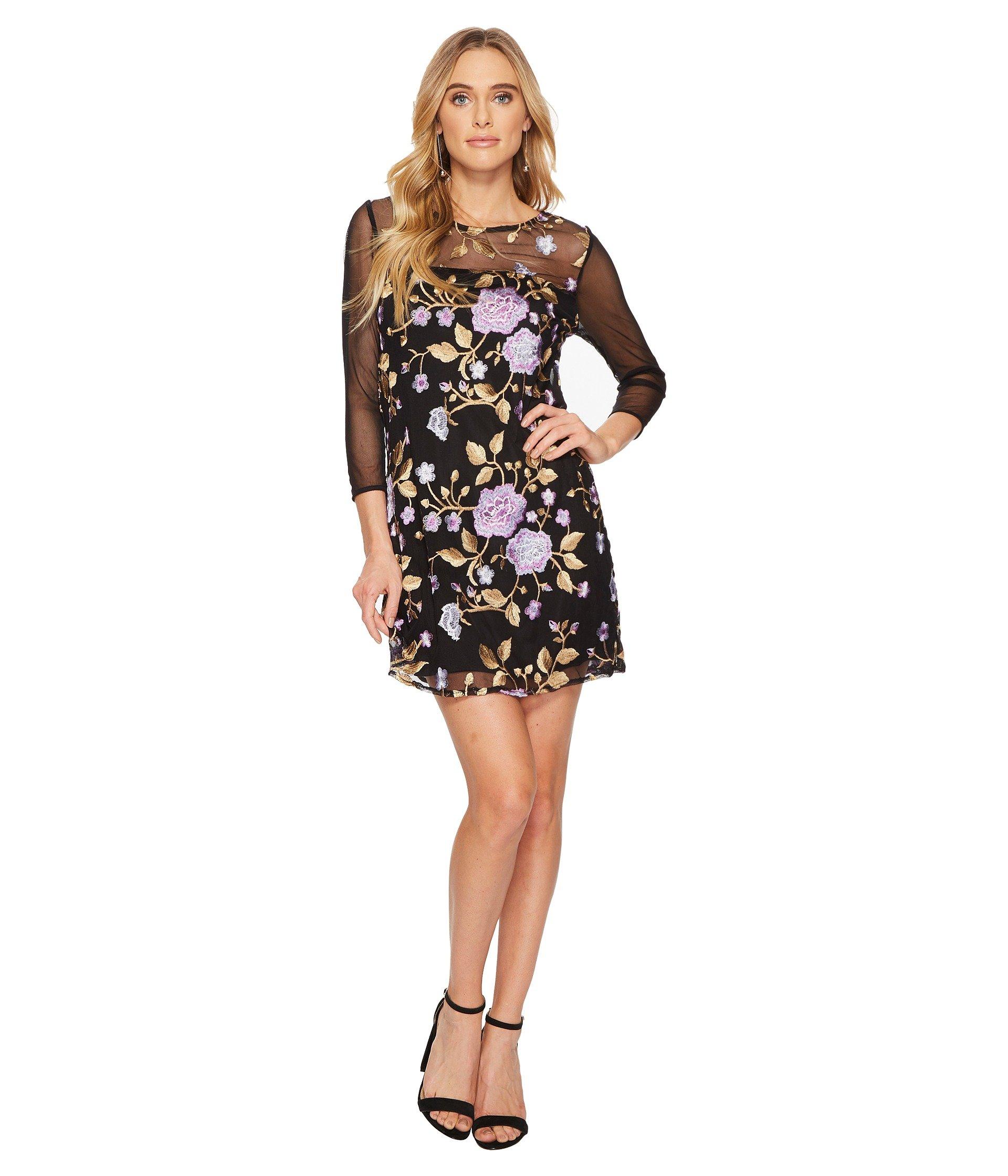 Jaelyn Embroidered Mesh Dress, Black