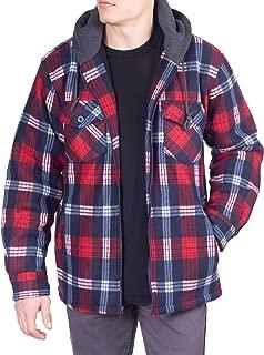 Visive Mens Flannel Hoodie Jackets for Men Zip Up Fleece Sherpa Lined Shirt