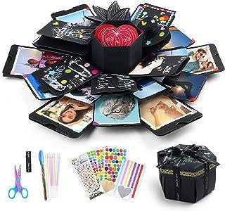 LotFancy Explosion Gift Box, DIY Surprise Photo Box, Creative Scrapbook Album, Love Memory Exploding Picture Box, Anniversary Wedding Valentines' Day Birthday Gift, Black Preassembled