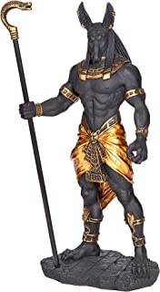 Design Toscano Anubis, Jackal God of The Egyptian Underworld Statue, Black/Gold