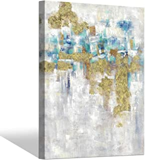 Abstract Wall Art Canvas Painting: Gold and Gray Abstract Artworks Textured Picture for Living Room (40'' x 30'' x 1 Panel)