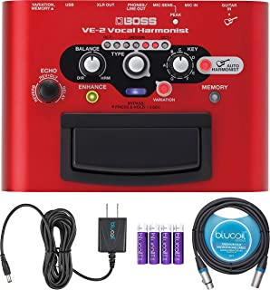 BOSS VE-2 Vocal Harmonist Pedal Bundle with Blucoil Slim 9V 670ma Power Supply AC Adapter, 10-FT Balanced XLR Cable, and 4 AA Batteries