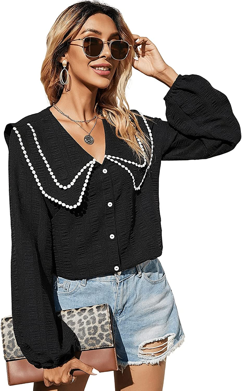 Milumia Women's Button Down V Neck Collar Lantern Sleeve Lace Trim Blouse Shirt Top