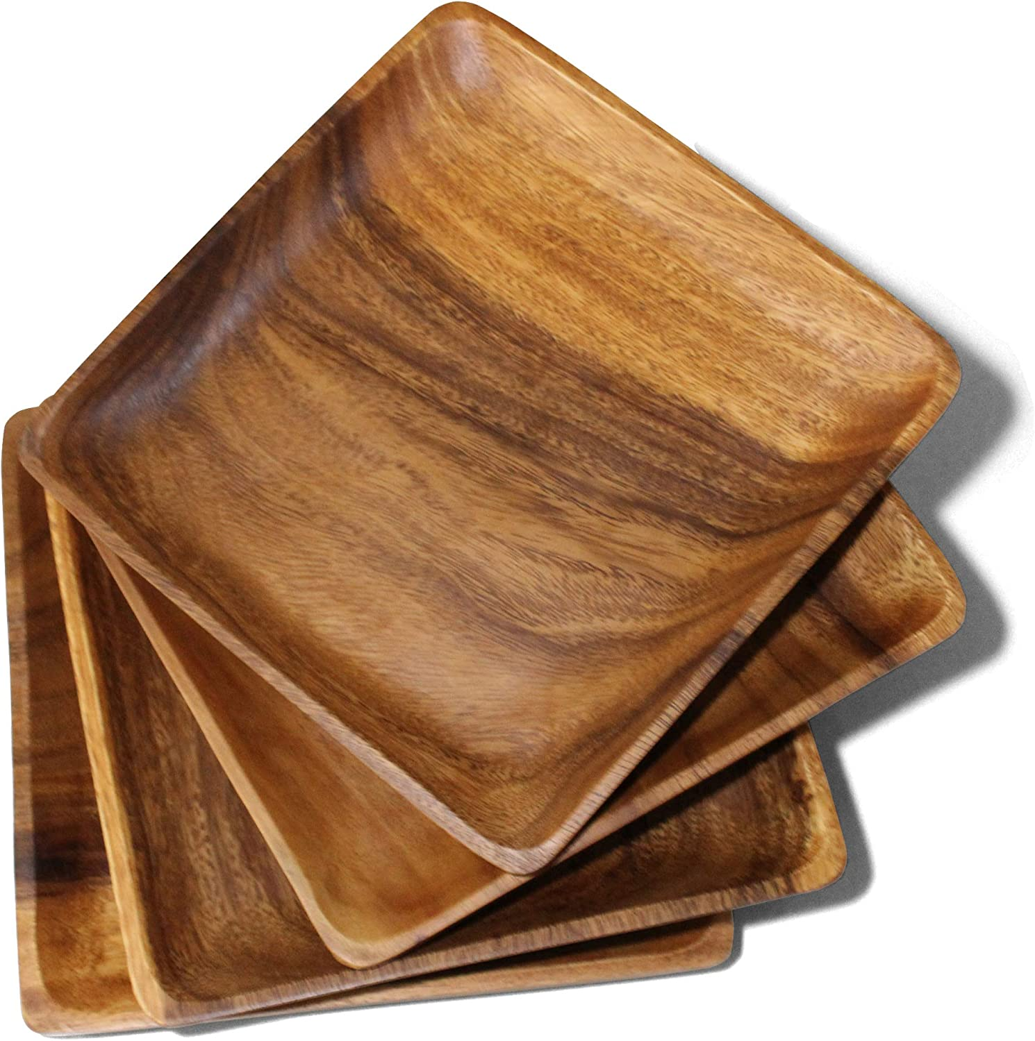Wooden Plates Set Raleigh Mall of 4 Wood for Handcrafted Max 71% OFF Food Aca