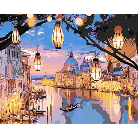 "COLORMAIZE DIY Paint by Numbers Kit for Kids & Adults, Rolled Wrinkle-Free Canvas Oil Painting, Paint by Numbers for Adults with Paint Brushes, Acrylic Paints 16"" W x 20"" L - Night Venice"