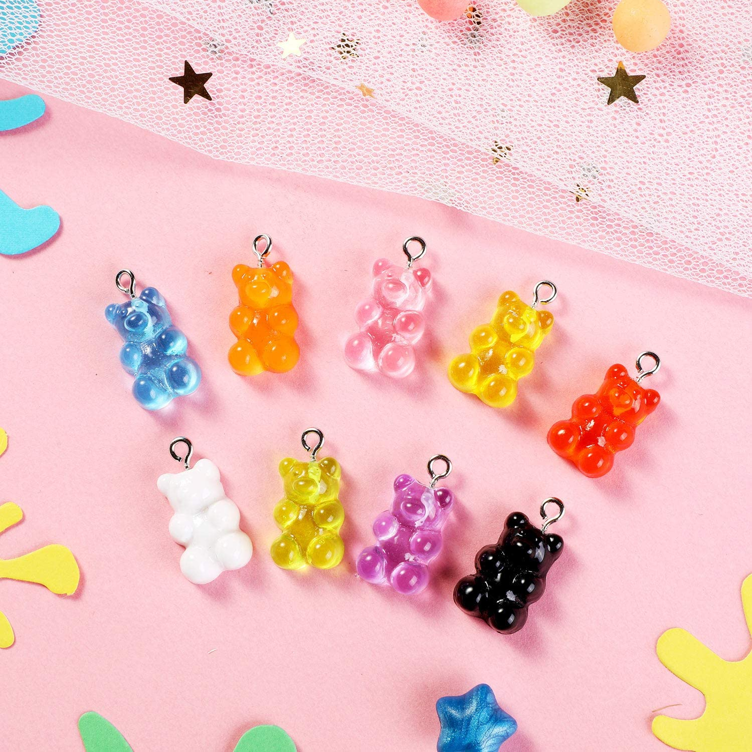 54 Colorful Gummy Resin Bear Charms Pendants Resin Bear Keychains for DIY Jewelry Necklace Supplies