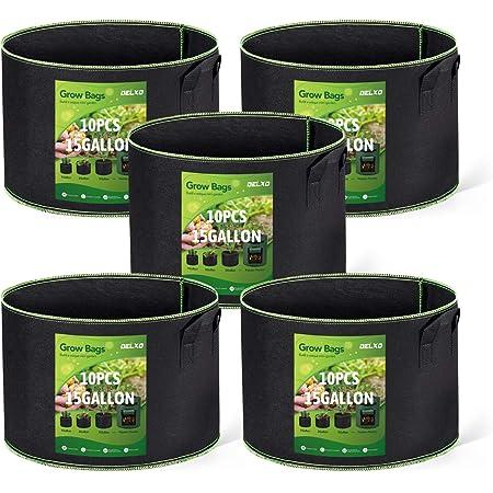 BOEHM FARMS 10 Gallon Heavy Duty FABRIC POTS W// STURDY Handles 5 Pack