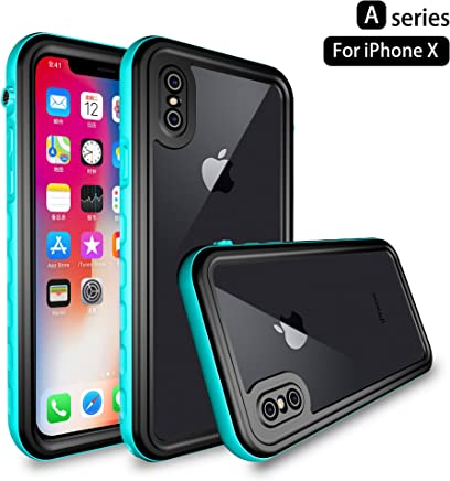 iPhone X/XS Waterproof Case, Dooge IP68 Certified Snowproof/Shockproof/Dirtproof Fully Sealed Underwater Full-Body Heavy-Duty Protective Cover with Built-in Screen Protector for iPhone X/XS