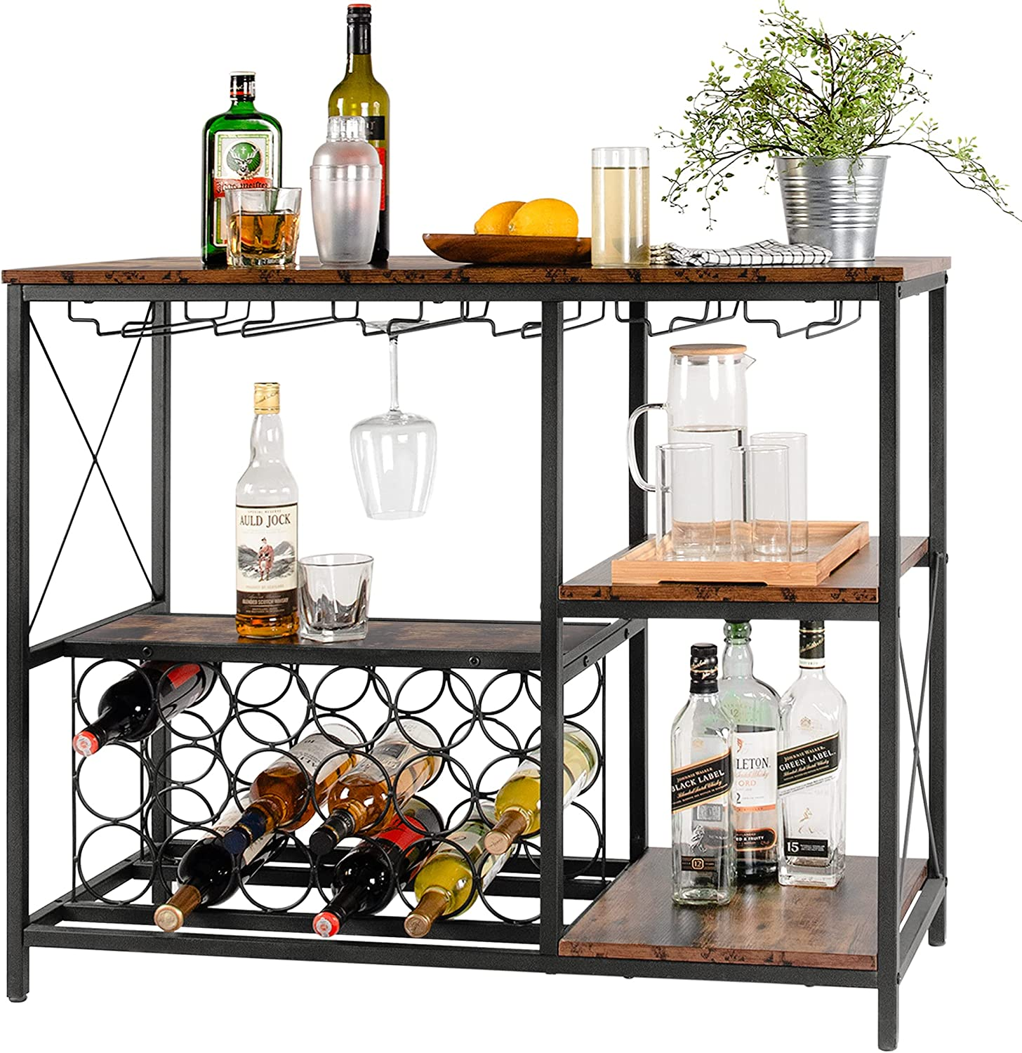 Tektalk Wine Bar Cabinet Max 54% OFF Rack 1 year warranty Freestanding with Table Glass