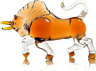 The Wine Savant Charging Bull Liquor Decanter Made For Bourbon, Whiskey, Scotch, Rum, or Tequila 1000ml (Bull)