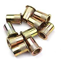 Lasamot Conjunto de porcas de rebite M3/4/5/6/8/10/12 de aço inoxidável banhado a zinco