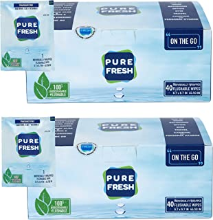 PureFresh Wet Wipes: Flushable, Individually Wrapped for Travel, 80 Singles
