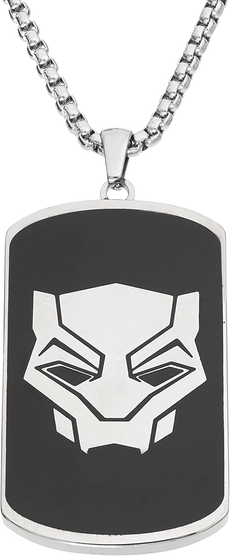 Marvel Black Panther Men's Stainless Steel Dog Tag Pendant, 22