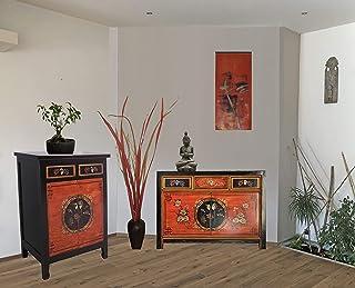 Combinación de muebles chinos con 2 cómodas en estilo shabby-chic en rojo-negro aparadores asiáticos vintage