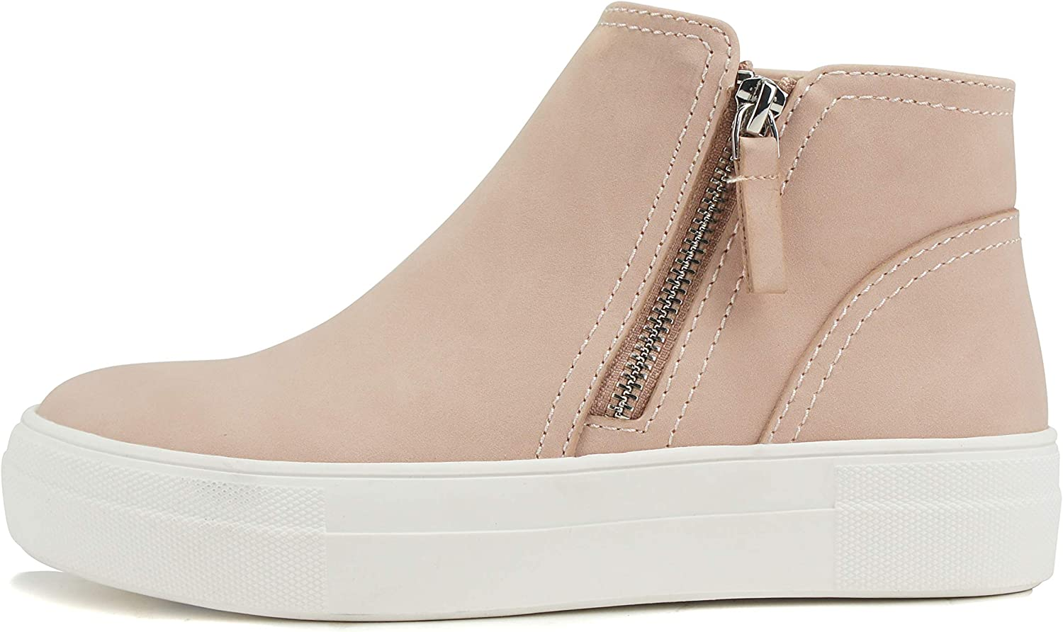 Soda Route Women High Top Fashion Sneaker Shoes with Padded Sole & Side Zipper