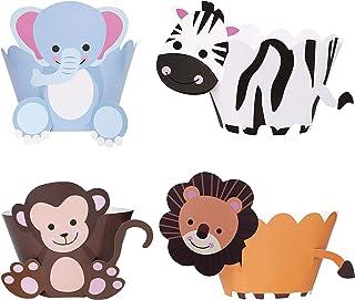 Cupcake Wrappers Toppers 36 Pièces Cupcake Décoration Animal Wrappers Papier DIY Combinaison pour Enfant Fête D'anniversai...