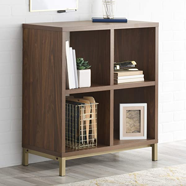 Better Homes And Gardens 4 Cube Metal Base Room Storage Organizer In Vintage Walnut Finish Include Free Furniture Polish