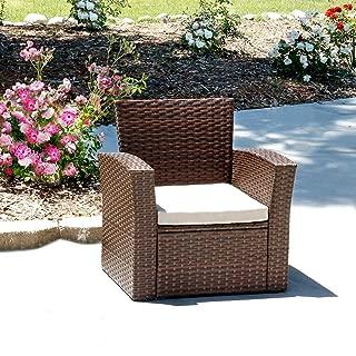 Living Essentials Primrose Wicker Single Chair, Outdoor Armchair | Beige Water Resistant Cushion | Additional Sofa for Patio Conversation Sets | Backyard, Pool, Garden