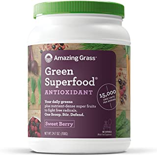 Amazing Grass Green Superfood Antioxidant: Organic Plant Based Antioxidant and Wheat Grass Powder for full body recovery, 8 servings of Fruits and Veggies per Scoop, Sweet Berry Flavor, 100 Servings