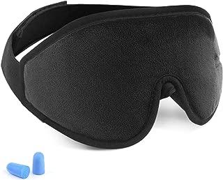 Eye Cover Sleeping mask for Woman and Men, Patented Design 100% Blackout Sleep Mask Comfortable Lightweight Eye Mask & Blindfold for Travel, Nap, Shift Works (Black)