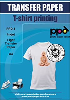 "PPD Inkjet Iron-On White and Light Colored T Shirt Transfers Paper LTR 8.5x11"" Pack of 20 Sheets (PPD001-20)"