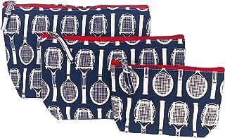 مجموعة حقيبة مستحضرات التجميل النسائية مكونة من 3 قطع: حقائب مكياج صغيرة من القماش بطبعة التنس - تناسب جميع أدوات التجميل ...