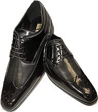 Antonio Cerrelli 6809 Mens Traditional Wing Tip Dress Shoes Black Charcoal Gray 2-Tone Dress Shoes