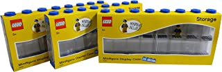 LEGO Minifigure Display Case with Bonus Minifigure (Large 3-Pack Blue)