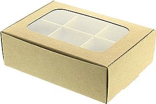Gretel ミニクラフトお菓子ボックス 窓と仕切り付き 自家製チョコレート、キャンディ、お菓子、小さな焼き菓子用 Sサイズ - 5 x 3.5 x 1.57インチ - 20個パック。