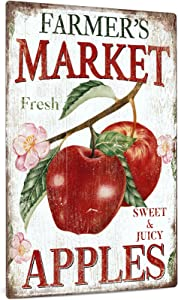 Putuo Decor Apple Sign, Summer Fruit Wall Art Decorations for Kitchen, Cafe Bar, Farmhouse, Front Porch, Fruit Market, 12x8 Inches Vintage Aluminum Metal Sign