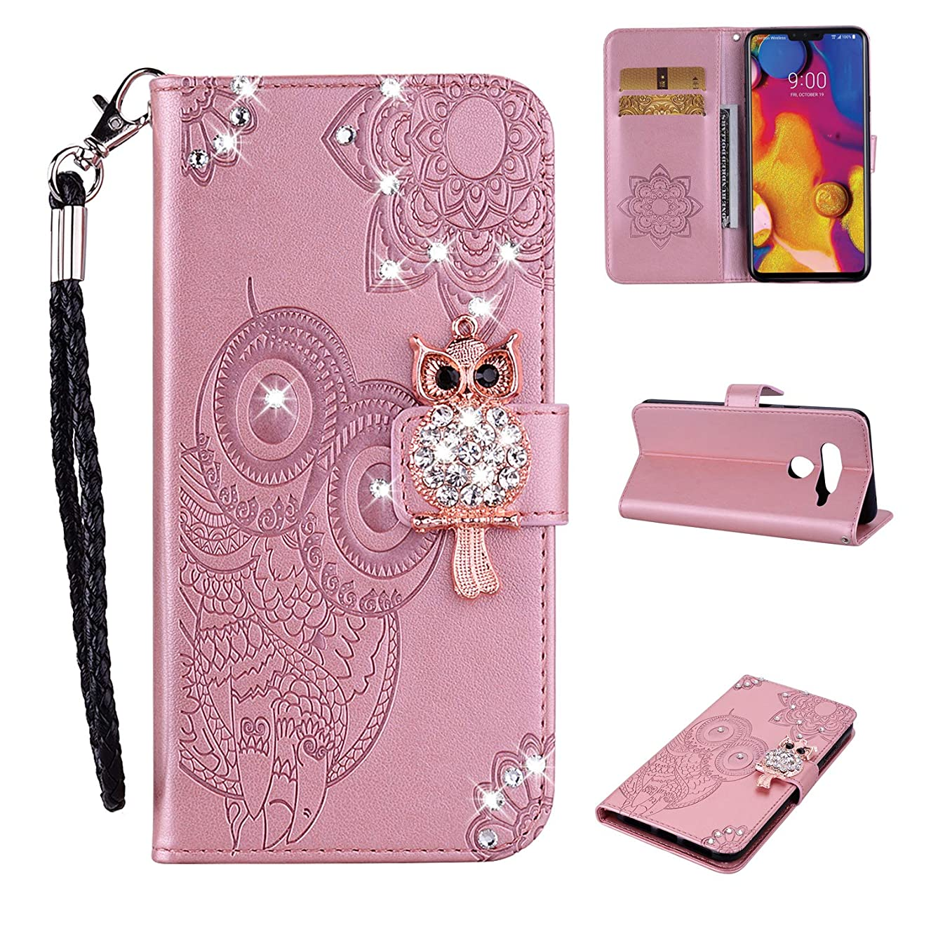 Cfrau Diamond Kickstand Case with Black Stylus for LG V40,Luxury Embossed Crystal 3D Owl Flower Bling Glitter Wallet PU Leather Shockproof Soft TPU Wrist String Case - Rose Gold