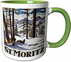 3dRose mug_170744_7 St Moritz Winter Scene with People Skiing and Horse Drawn Sleigh, 11 oz