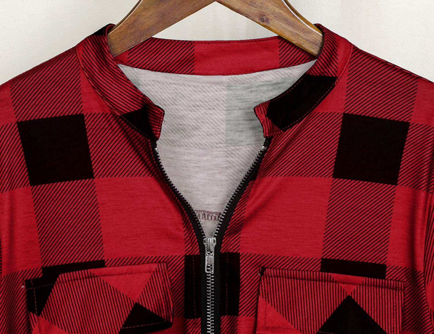 Tanst Sky Womens Casual Long Sleeve Zipped V Neck Plaid Tunic Blouses