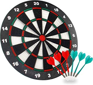 Geekper Safety Dart Board Set for Kids - 16 Inch Rubber Dart Board with 6 Soft Tip Darts for Children and Adults - Office ...