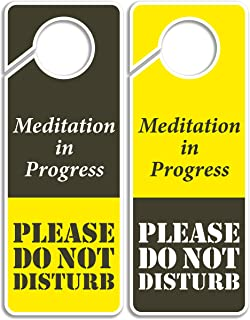 Clever Signs Do Not Disturb Sign - Meditation in Progress, Door Hanger 2 Pack, Double Sided, Ideal for Using in Any Places